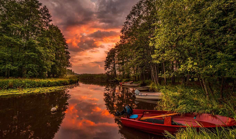 часть, река, лодки, фотографии, лес, закат, пейзаж, красивые, turbobit, отличном, картинок, качестве,