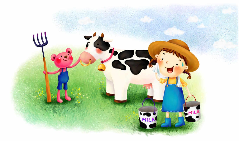 нарисованные, медвежонок, девочка, корова, молоко, вилы, полкольчик, трава, пот