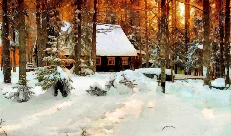 winter, снег, живопись, картинка, метки, деревья,