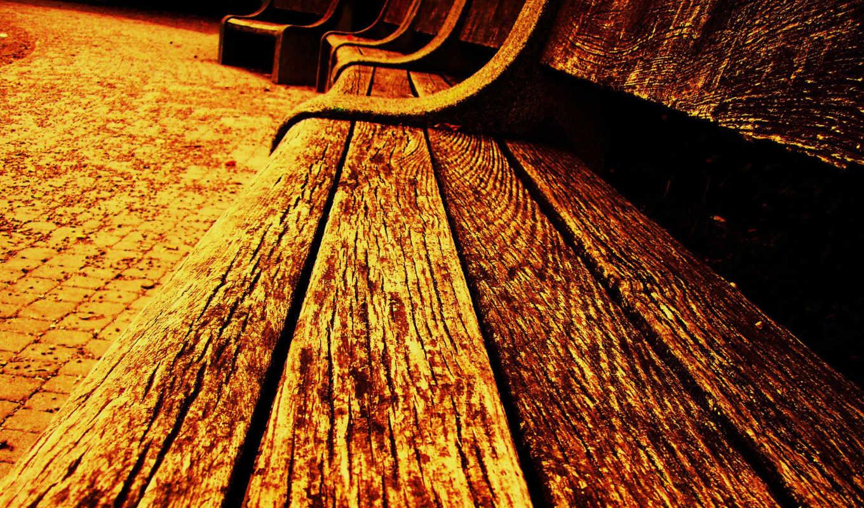 benches, row, скамейка, wood,