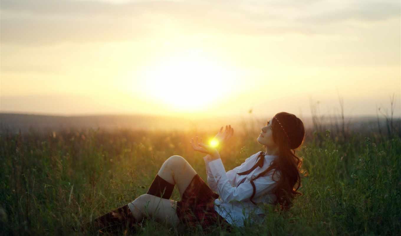 солнце, трава, pole, рассвет, zakat, лучи,