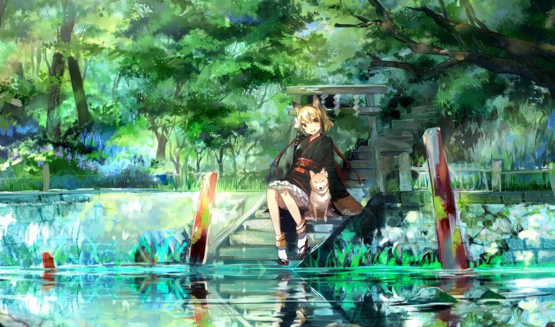 anime, девушка, природа, art, река, собака,