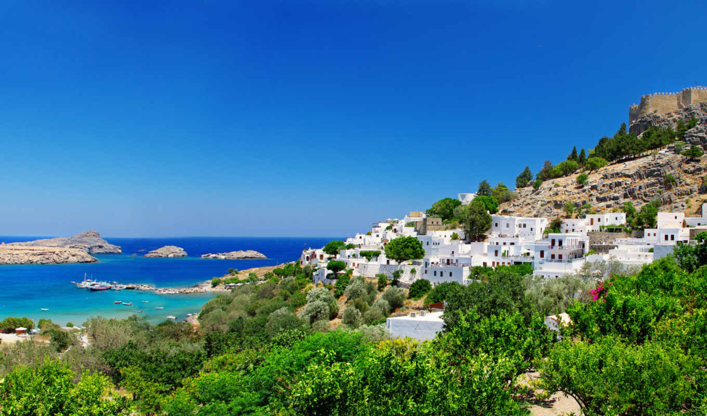 greece, дома, побережье,