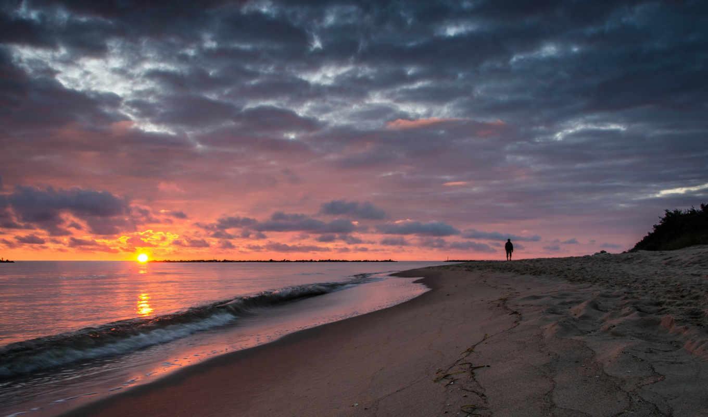 утро, рассвет, море, пляж, прогулка,