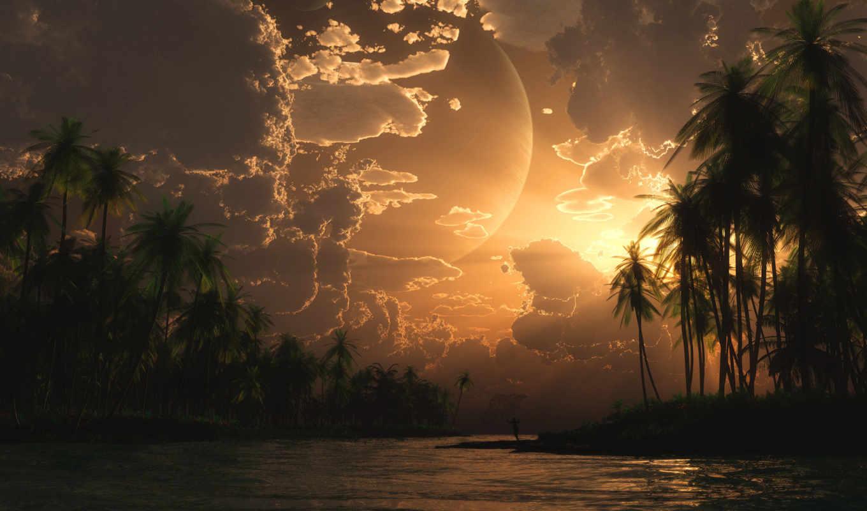 море, острова, пальмы, digital, широкоформатные, нояб, закат, рыбак,
