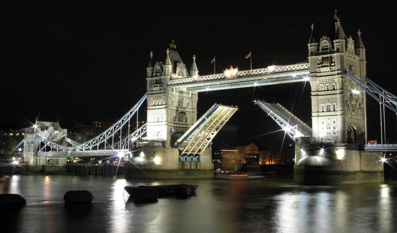 мост, башня, london, ночь, перевод, мосты,