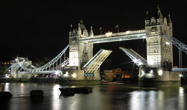 ночь, мост, башня, london, мосты,