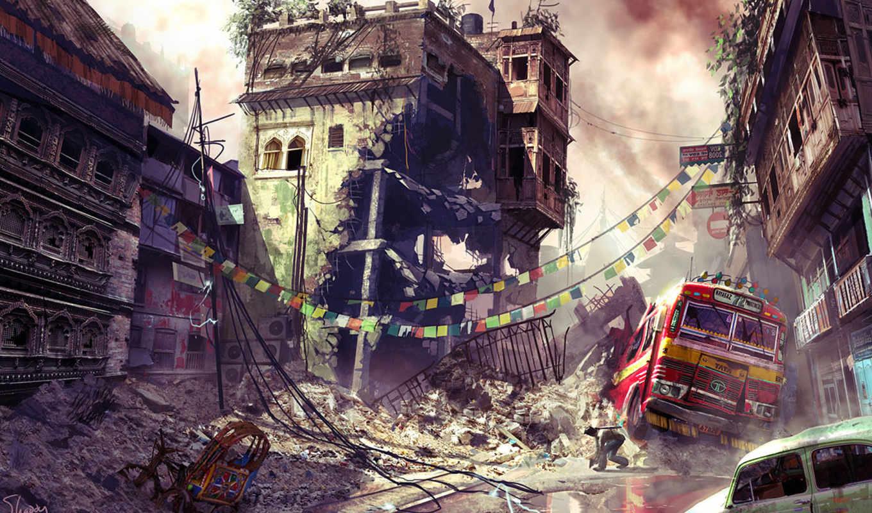 uncharted, car, destruction, bus, city,