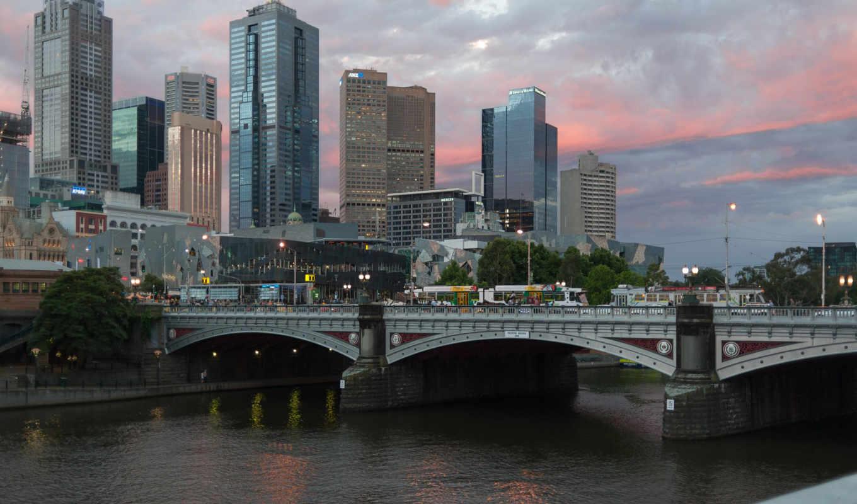 melbourne, город, австралия, февр, янв, категории, города, мира, вечер, река,