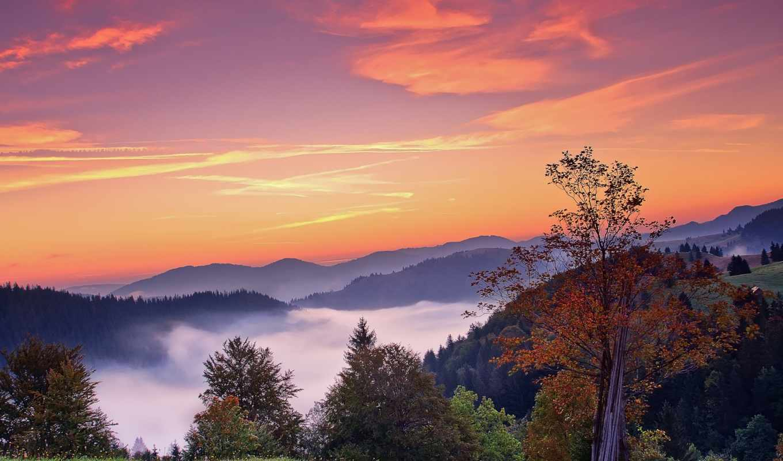 природа, осень, горы, деревья, небо, туман,