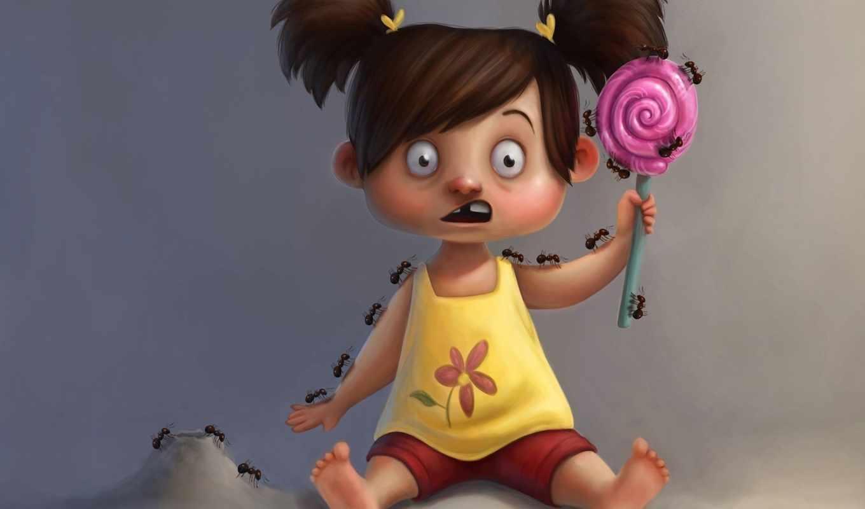 candy, art, муравьи, девочка, ужас