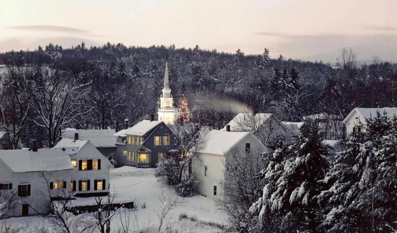 winter, снег, англия, новой, англии, деревя,