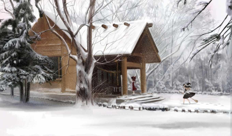зима, дом, шляпа,