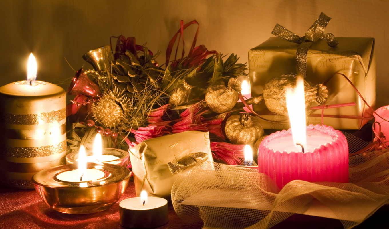 new, год, свечи, праздник,