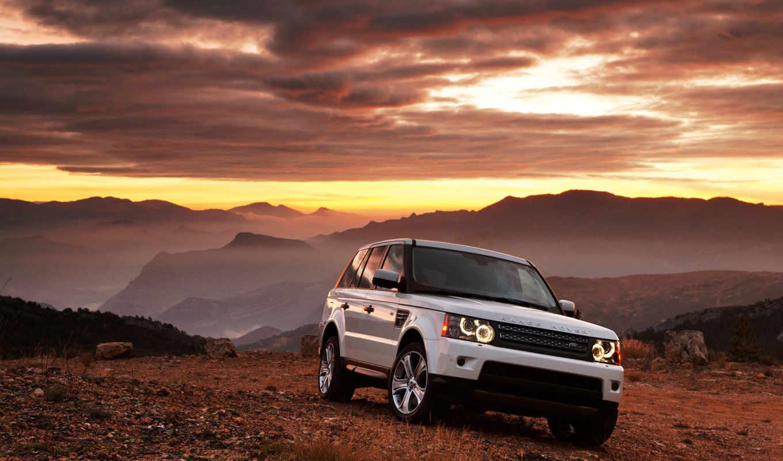 rover, range, авто, белый, горы, закат, вечер, автомобили, land,