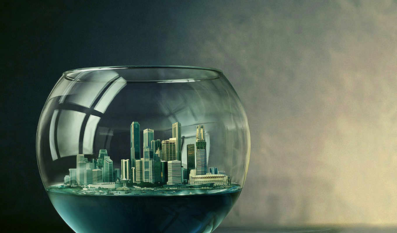 glass, world, city,