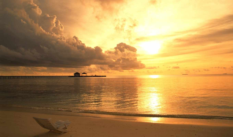 облака, закат, небо, закате, пляж,