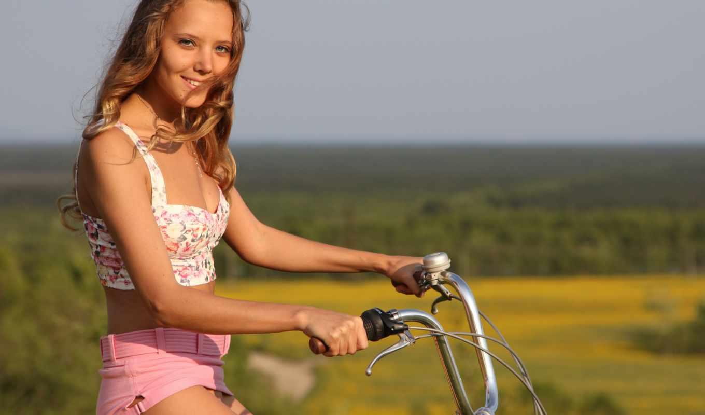 девушки, велосипедах, девушка, велосипеде, шикарно,