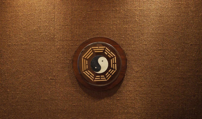 фон, дерево, инь-ян, знак, символ, бежевый, коричневый