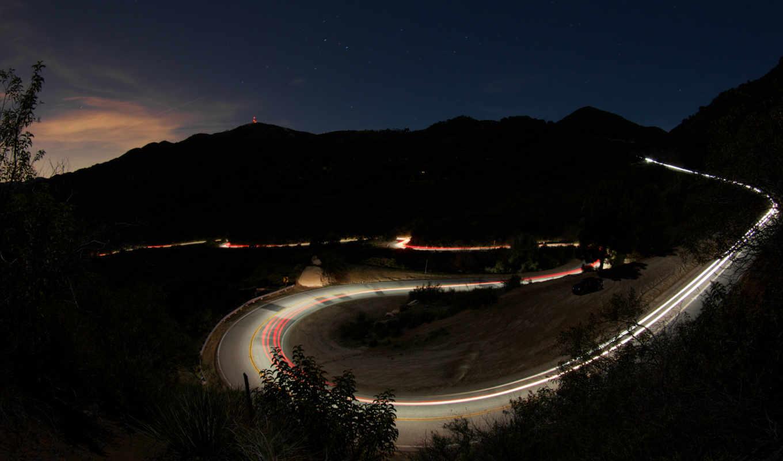 дорога, ночная, природа,
