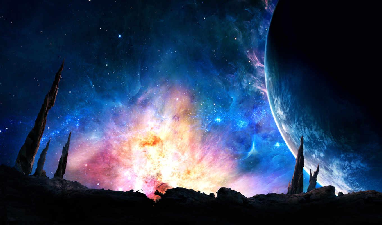 cosmos, широкоформатные, лучшая, свечение, galaxy,