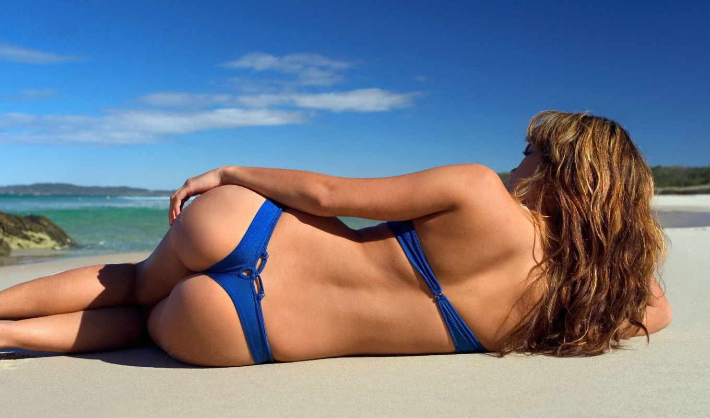 попка, купальник, пляж, лежит, обои, синий, девушк