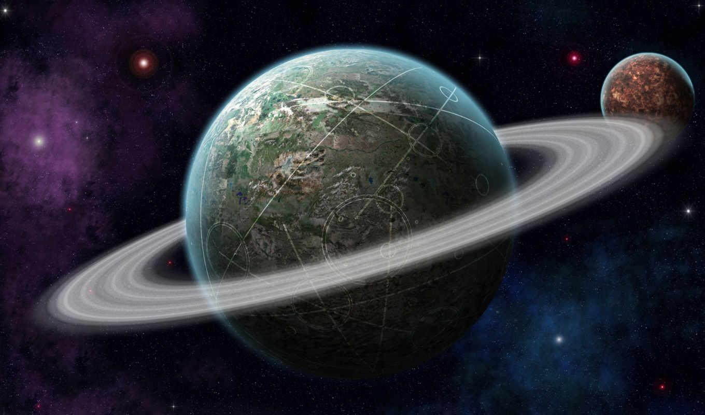 обои, космос, планета, кольца, планеты, круги, зве