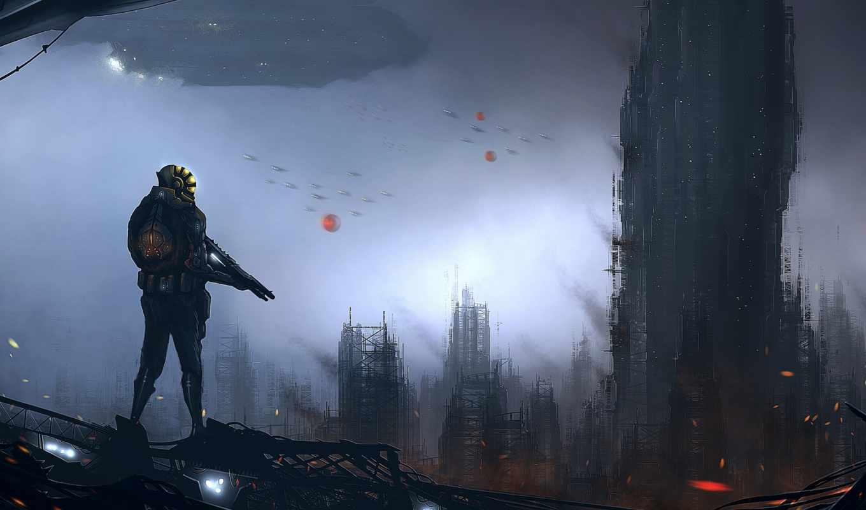 человек, фантастика, арт, оружие, пейзаж, будущего, корабли, космические, здания, картинка,