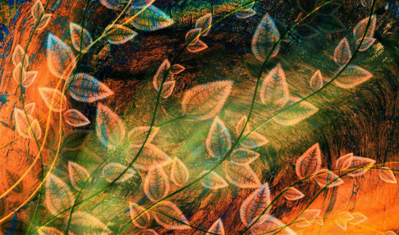 абстракция, рисунок, листва, картинку,