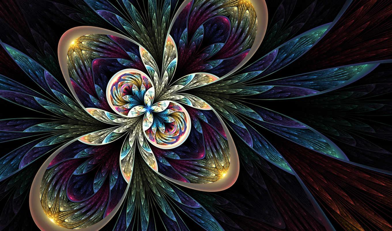 круги, лепестки, цветок, графика, абстрактная, fractal, рабочем, фона, столе,