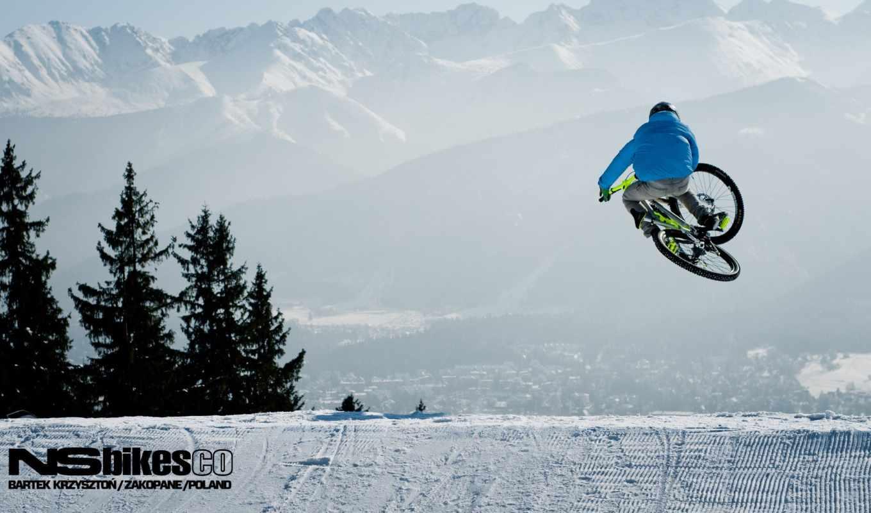 downhill, велосипед, mtb, freeride, bike, снег, winter, zima,
