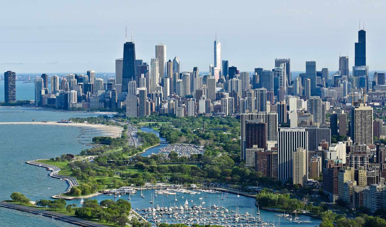 город, chicago, взгляд, usa, небоскребы,