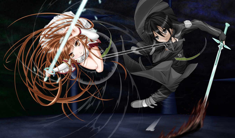 yuuki, asuna, art, меч, online, длинные, волосы, kirito, девушка, anime,