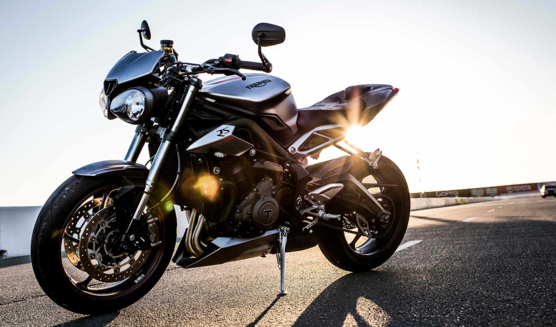 мотоцикл, new, улица, triumph, triple,