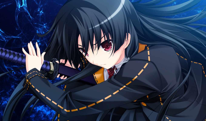 black, пуля, черная, девушка, anime, bullets, brunette, меч,