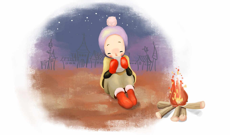 нарисованные, уют, варежки, шапочка, чай, тепло, зима, снег, костер, домики