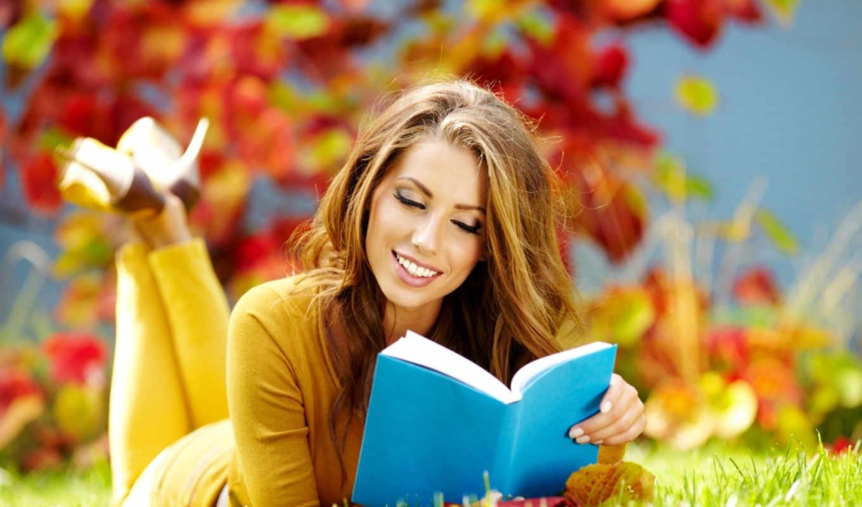 девушка, осень, книга, улыбка, читает, браун,