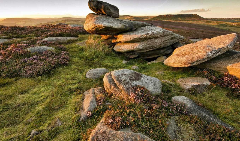 landscapes, nature, rock, stone, sunrise, sunset, 1920x1200,