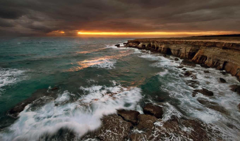 скалы, море, landscape, природа, water, волны, закат,