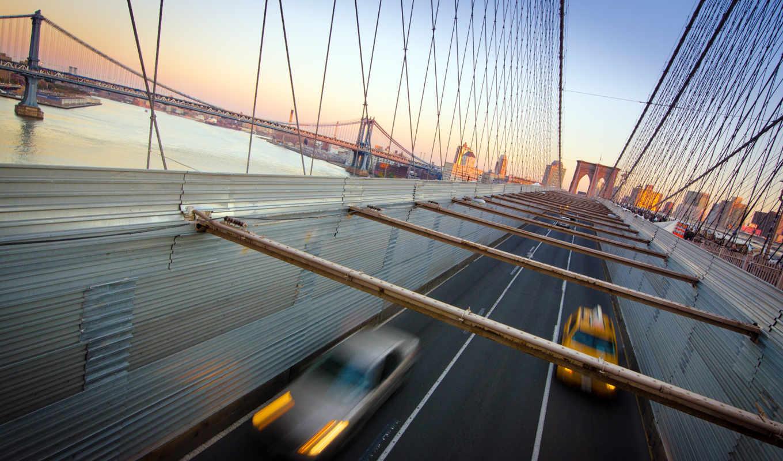 нью, york, бруклин, мост, new,