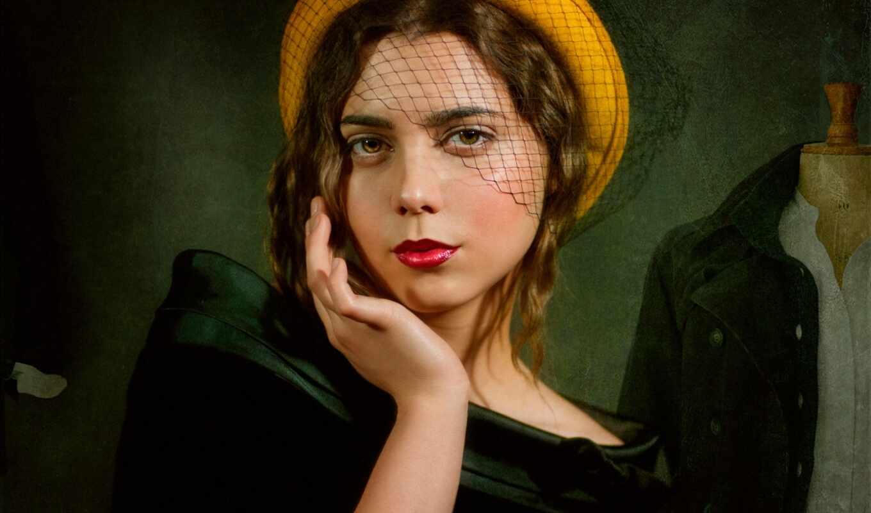 millinery, portrait, lady, женщина, модель, фон