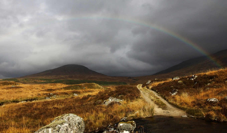 радуга, небо, серый, шотландия, облака, tags, landscapes, красота, природы, горной, valley, pack, bidibidi, resolution, nature, нравится,