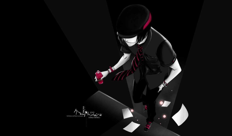 anime, парень, art, кеды, bleach, черной, одежде,