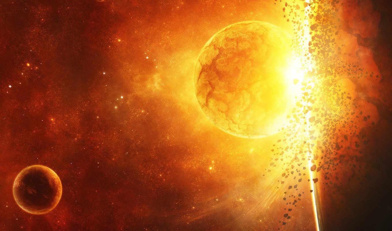 огонь, взрыв, свет, space, planet, art, картинка,