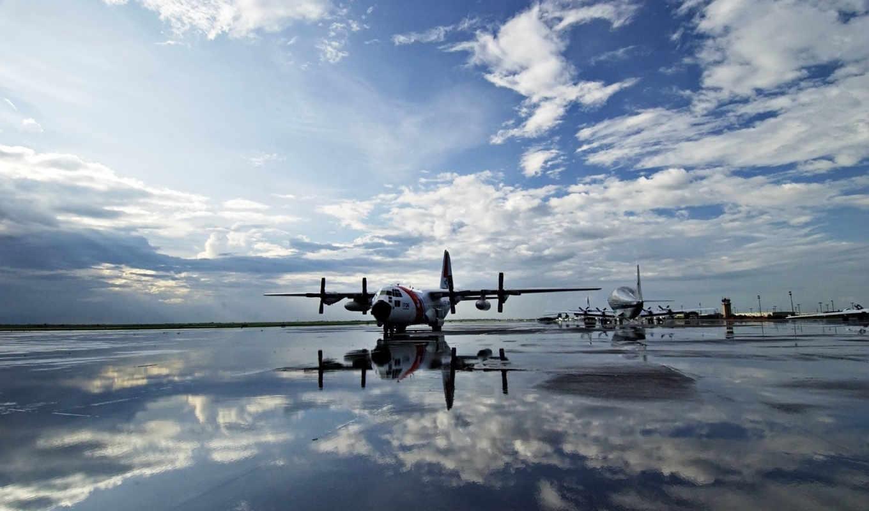вода, небо, самолеты, полоса, картинка, винты, отражение, аэродром,