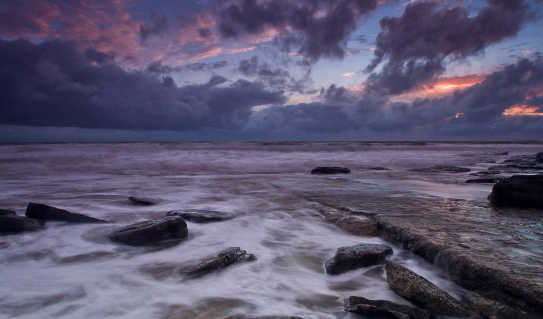 море, камни, закат, уэльс, великобритания, берег, вечер, небо, тучи, облака, clouds,