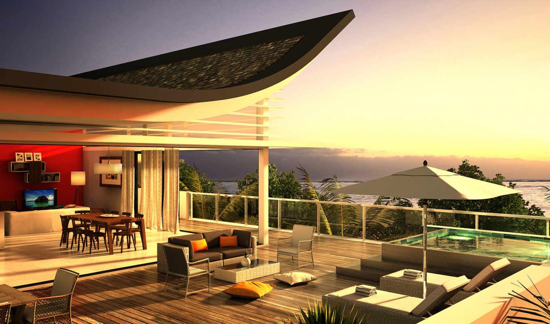 house, море, design, penthouse, терасса, небо, диван, villa, интерьер, моря, берегу,