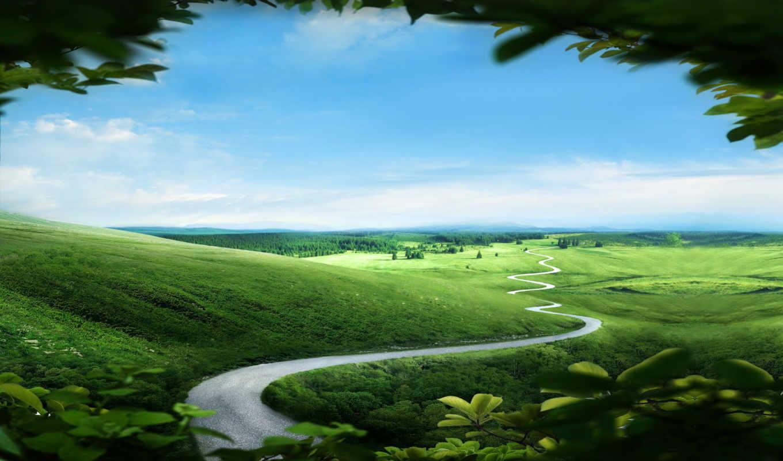 ,долина, зелень, поля,дорога