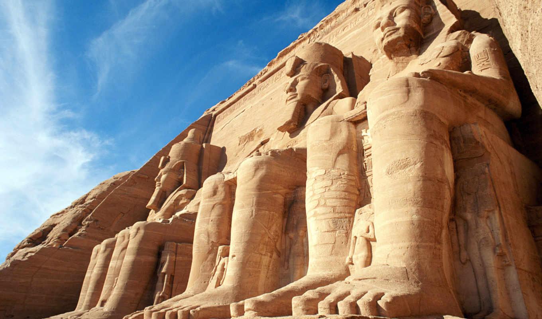 egipto, egito, simbel, abu, monumentos, rio, templos, que,