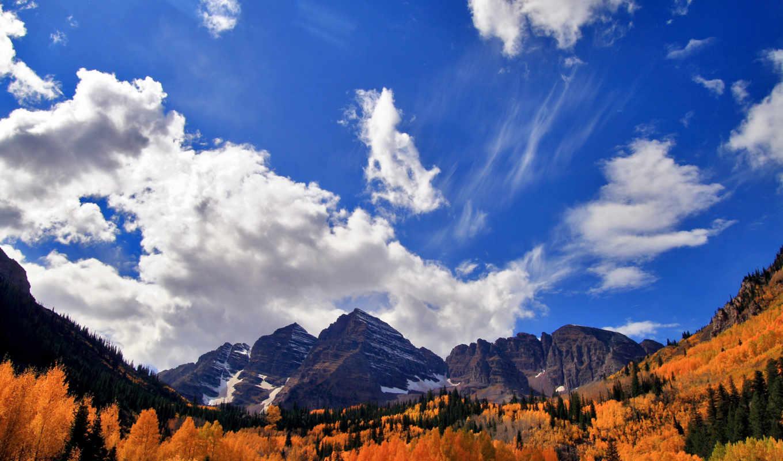 oblaka, осень, горы, картинку, небо, телефон, landscape, лес, winter,